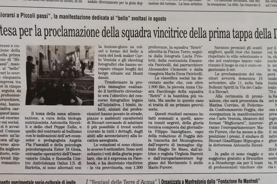 Il Quotidiano di Foggia riporta dell'attesa che precede la premiazione di Biccari 2019